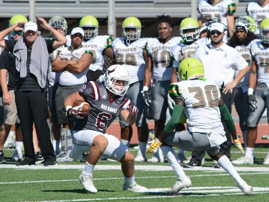 McMurry receiver Tanner Clark runs after making a catch against Belhaven during the 2018 season. Clark missed the 2019 season due to an injury, but has been an integral part of the team and program as a player coach this year.