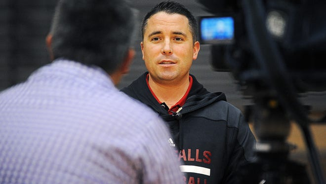 Sioux Falls Skyforce head coach Dan Craig does a television interview during the Sioux Falls Skyforce Media Day Monday, Nov. 2, 2015, at the Sanford Pentagon in Sioux Falls.