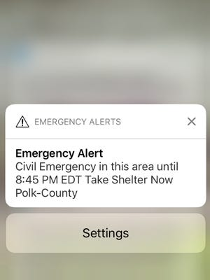 This message appeared on cellphones in the Johnson County area on Monday, March 20.
