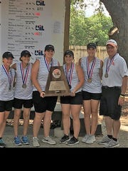 The Robert Lee High School girls golf team celebrates with coach Kerry Gartman after the Lady Steers finished second in the Class UIL state tournament in Austin on Tuesday.