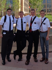 La Quinta graduate Gordon Haskell (left) joins three others at the Missionary Training Center in Utah in preparation for his Mormon mission to Ecuador.