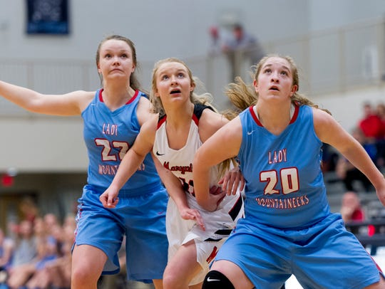 Heritage's Abby Jones (22) and Emma Harig (20) as Maryville's