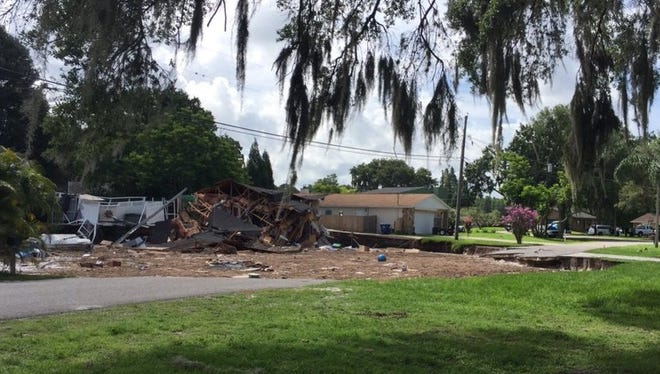 A sinkhole is growing and destroying homes in Pasco County July 14, 2017.
