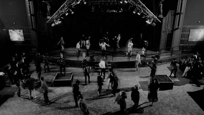 """The crowd dances during an """"alternative music night"""" at Heaven nightclub in April 1991."""