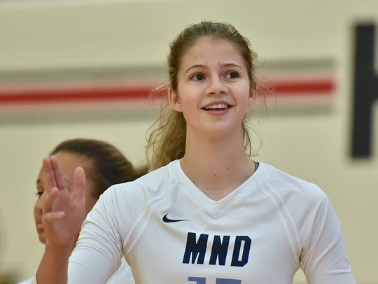 MND's Natalie Steibel is introduced to the floor Thursday,
