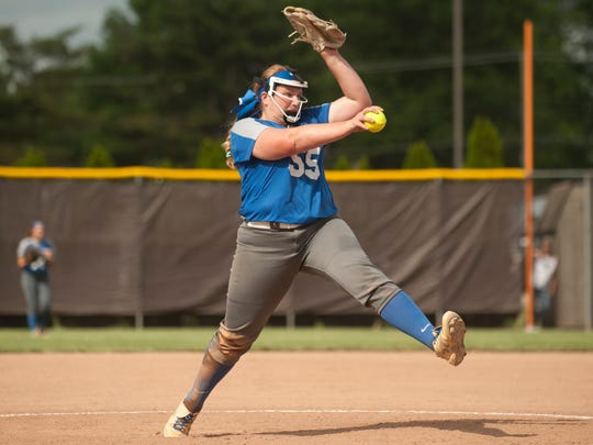 Sterilng's Mallory Skelly delivers a pitch during the softball Group 2 state semifinal game between Sterling and Robbinsville played at Rowan University on Thursday, May 31, 2018.  Robbinsville won, 9-4.