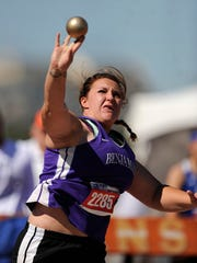 Benjamin's Emily Brown throws the shot in the Class 1A girls shot put during the UIL State Track and Field Championships on Friday, May 12, 2017, at Mike A. Myers Stadium in Austin. Brown finished second in the event with a throw of 40-3.5.