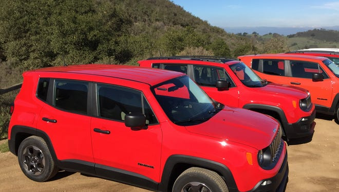 A row of 2015 Jeep Renegades is lined up during a media drive at the Hollister Hills State Vehicular Recreation Area in California on Tuesday, Jan. 20, 2015. Brent Snavely/Detroit Free Press