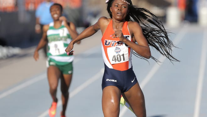 UTEP's Florence Uwakwe sails across the finish line to win her heat in the women's 400-meter dash Saturday. The win earns her a place in the final.