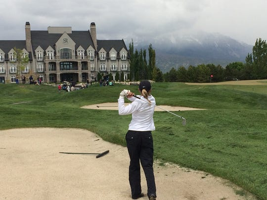 Snow Canyon's Lexi Hamel hits out of the bunker on