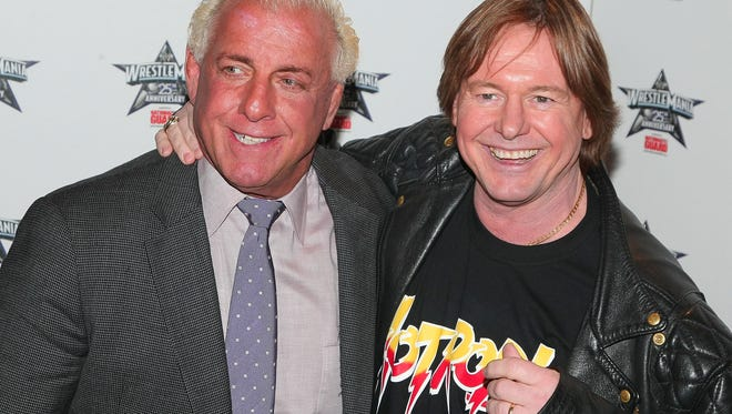 """Nature Boy"" Ric Flair and ""Rowdy"" Roddy Piper attends the WrestleMania 25th anniversary news conference at the Hard Rock Cafe? on March 31, 2009 in New York."