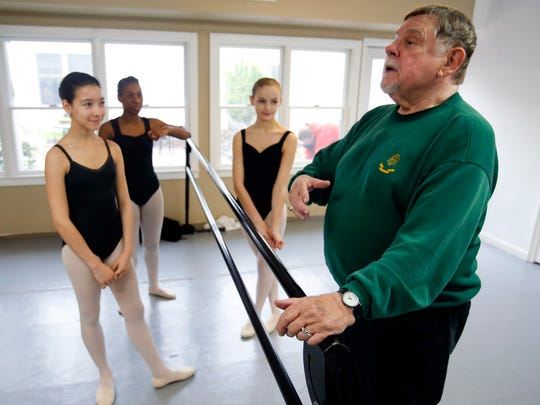 Arthur Hutchinson teaches a ballet class including