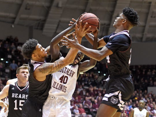 Missouri State forwards Obediah Church (5) and Alize