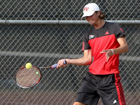 Wichita Falls High School's Mitchell Norrie hits from