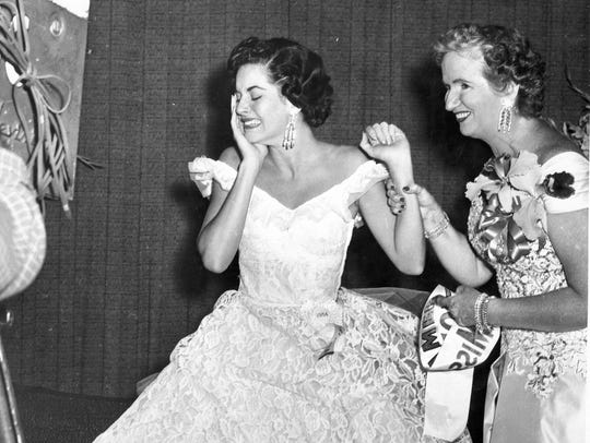 Lee Meriwether, left, seen in this black & white photograph,