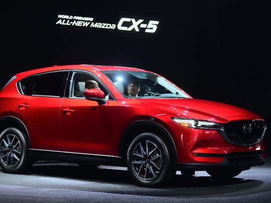 The new Mazda CX-5 on display at the Los Angeles Auto