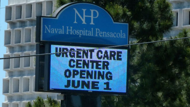 Sign in front of the Naval Hospital Pensacola.