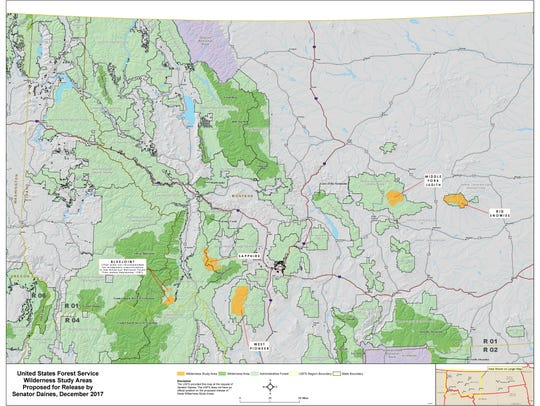 A map of the wilderness study area managed by the U.S