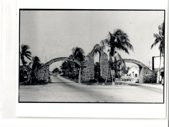 The massive stone archway on San Carlos Boulevard greeted