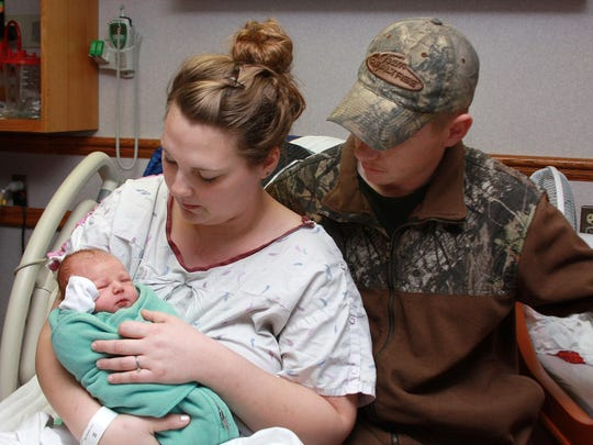 Samantha Kirkbride, 21, and her husband, Josh, 25, welcomed their first baby, Rylee, on Christmas Eve at Oaklawn Hospital in Marshall.