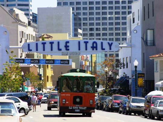 Jump on the Little Italy stop of San Diego's red trolley to tour San Diego's main attractions.