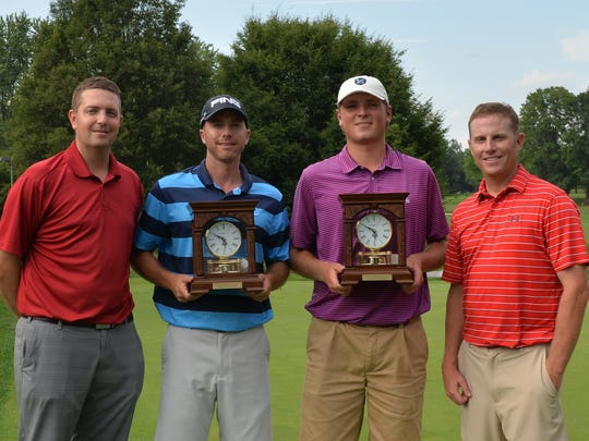 The champions of the W.B. Sullivan Invitational Fourball, Jeff Castle, second from left, and Jimmy Grem, third from left, are pictured with Nolan Peterson, head pro at the Lebanon Country Club, left, and Chris Gebhard.