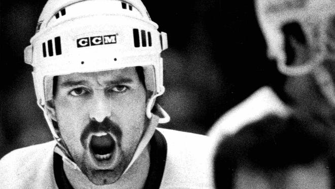 Richie Dunn expresses displeasure after a goal was waved off during a game in the late 1980s.