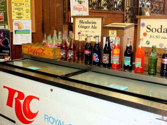 An old RC Cola drink cooler inside the Mast General