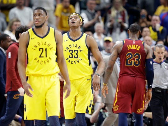 A dejected Indiana Pacers Myles Turner (33) and Thaddeus