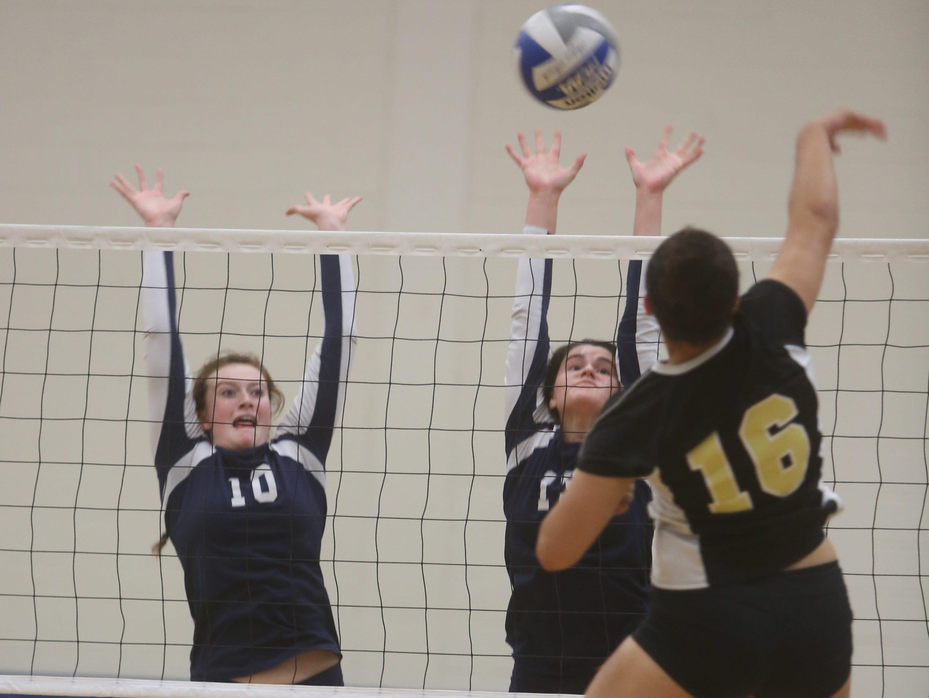 Nanuet defeated Pelham in five games to win a Section 1 Class B volleyball semifinal match at Pelham High School Oct. 29, 2014.