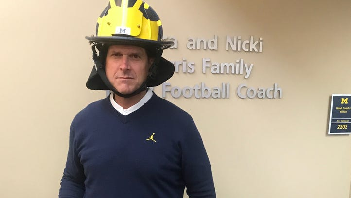 Go Blue! U-M Coach Harbaugh spends afternoon with retiring fire chief