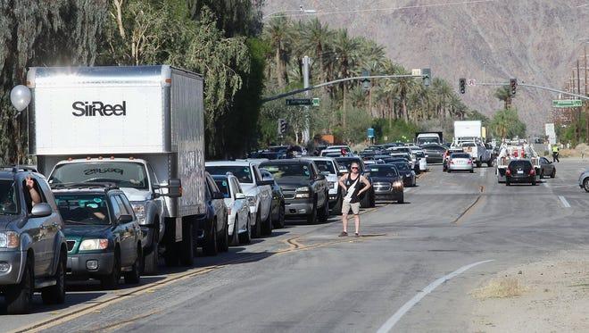 Coachella festivalgoers wait in traffic Thursday morning before the festival. (April 13, 2017)