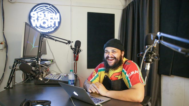 Oreo Jones mans his post at 99.1 FM WQRT's at Big Car's Listen Hear in Indianapolis before the latest episode of  Sound Lab with Oreo Jones on Wednesday, Feb. 28, 2018. Sound Lab with Oreo Jones happens monthly at Listen Hear.