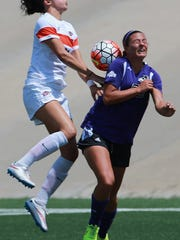 UTEP's Bri Barreiro, left, collided with Abilene Christian's Danielle Otto. Barreiro was called for a foul.