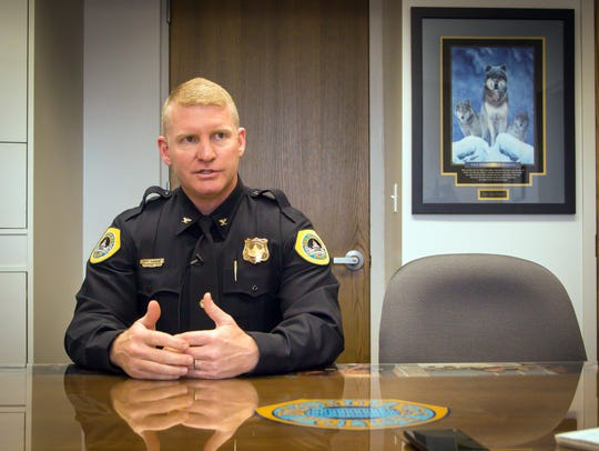 Des Moines Police Chief Dana Wingert talks with the Register in April 2017 in his office.