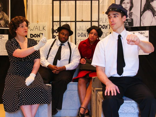 """New Stage Theatre's Katie Beth Jewell, from left, Augustus Bennett, Valencia Proctor and Patrick Moran perform """"Walk, Don't Ride! A Celebration of the Fight for Equality,"""" Tuesday at the Old Capitol Museum."""