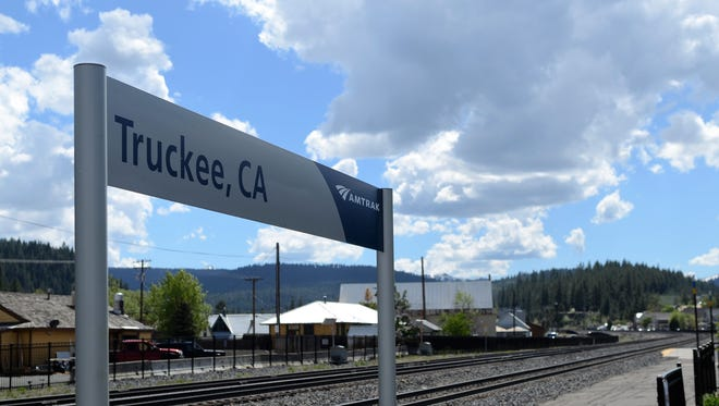 A sign near the Truckee Amtrak station marking the platform, on May 29, 2018.