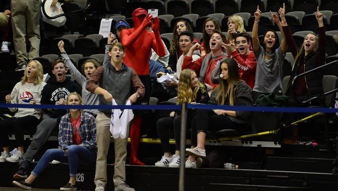 Bennett High School student section cheers on their team during the Governor's Challenge at the Wicomico Civic Center on Tuesday, Dec. 26, 2017.