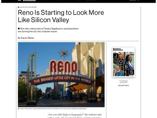 A screenshot of a recent Bloomberg.com story comparing Reno's economic revival to Silicon Valley.