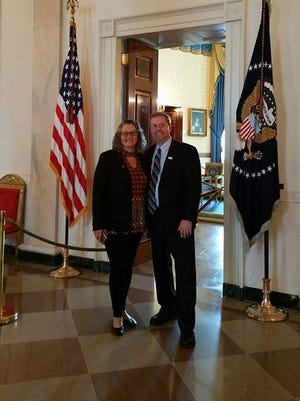 Wayne County Commissioner Denny Burns and his wife, Marcia,  pose inside the White House during a tour Wednesday.