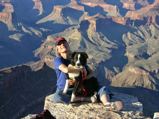 Lisa Eckert, the new superintendent at Bryce Canyon National Park, poses with her dog at the Grand Canyon, where she supervised a National Park Service training center.