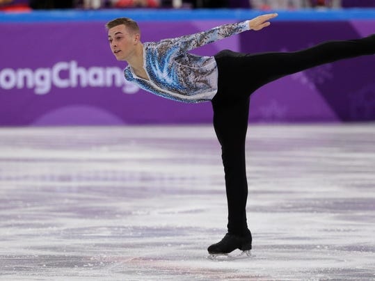 Adam Rippon of the United States performs in the men's single skating free skating in the Gangneung Ice Arena at the 2018 Winter Olympics in Gangneung, South Korea, Monday, Feb. 12, 2018. (AP Photo/David J. Phillip)