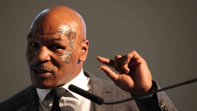 Former heavyweight boxing champ and convict Mike Tyson was a keynote speaker at the Prisoner Re-entry Conference in Jersey City, N.J., on April 2, 2015.