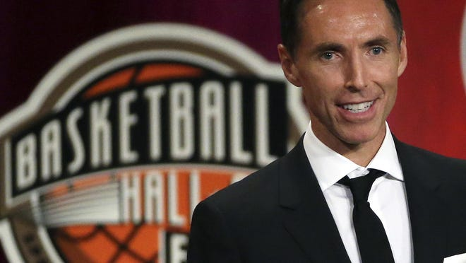 In this Sept. 7, 2018, file photo, Steve Nash speaks during induction ceremonies at the Basketball Hall of Fame, in Springfield, Mass. The Brooklyn Nets hired Steve Nash as their coach Thursday, Sept. 3, 2020, putting the Hall of Fame point guard in charge of the team that hopes to have Kevin Durant and Kyrie Irving together next season. [AP FILE PHOTO/ ELISE AMENDOLA]  Elise Amendola, File)