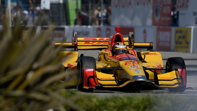 Ryan Hunter-Reay drives for position during the Toyota Grand Prix of Long Beach at Streets of Long Beach.