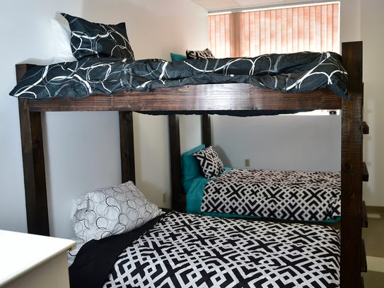 A bedroom at Esther House, a substance abuse recovery