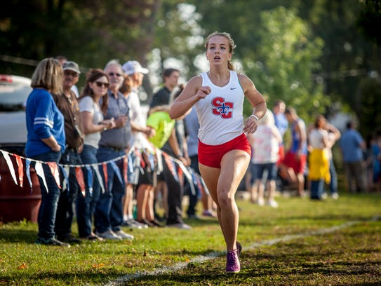 St. Clair's Morgan Markel finishes second during the