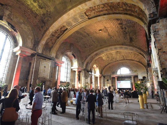 The lobby of the Michigan Central Depot is seen during