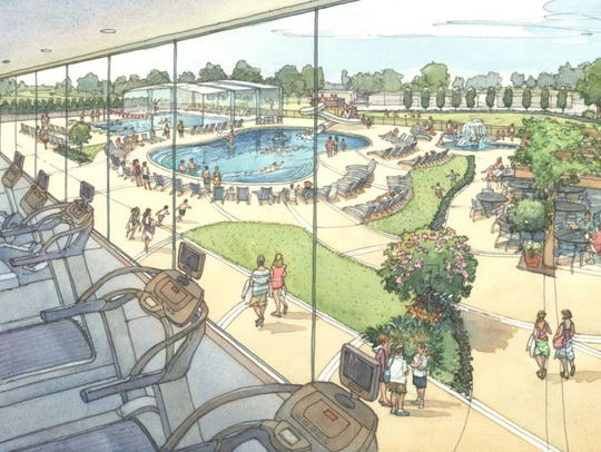 A rendering of the pool area from inside the future