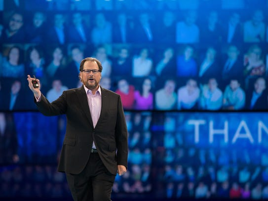 Salesforce CEO Marc Benioff, show here at the company's